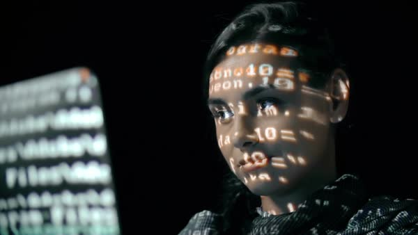 Macro shot of female face with binary code projections Royalty-free stock video
