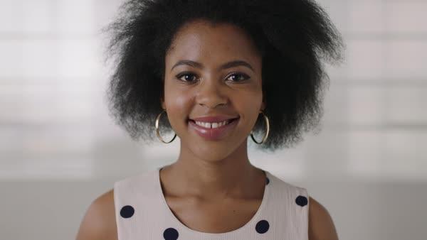 Portrait Beautiful African American Business Woman Looking Pensive