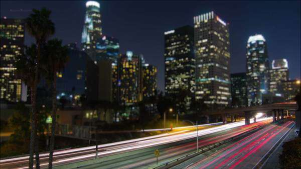 Night Traffic Timelapse Downtown Los Angeles Royalty-free stock video