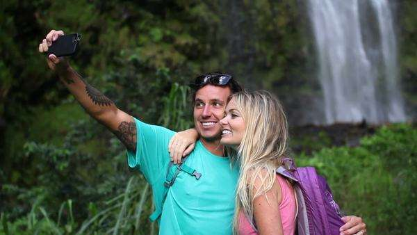 Young Happy Couple Taking Selfie Photo Together Outside By Waterfall Royalty-free stock video