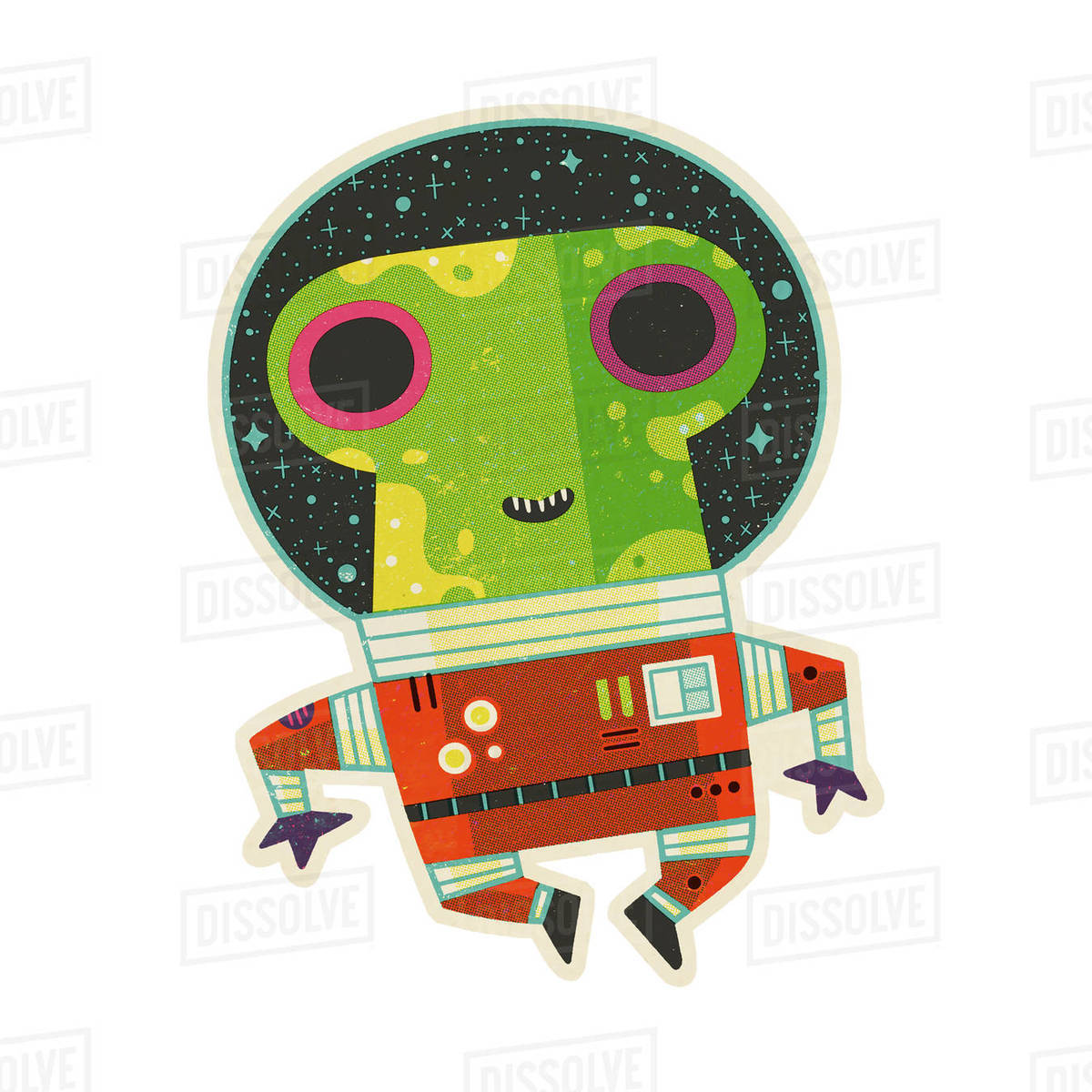 Illustration of an alien against white background Royalty-free stock photo