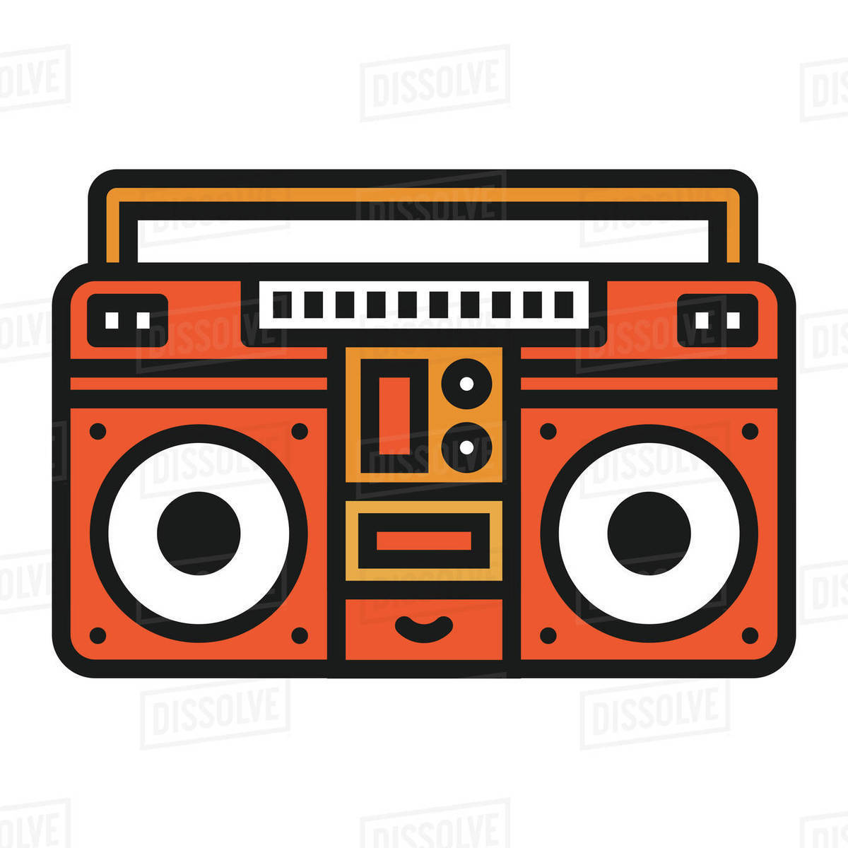 Illustration of old boombox against white background Royalty-free stock photo