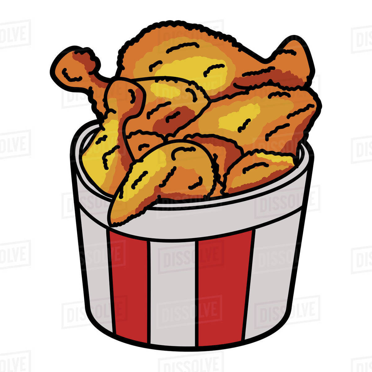 Illustration of bucket of fried chicken drumsticks on white background Royalty-free stock photo