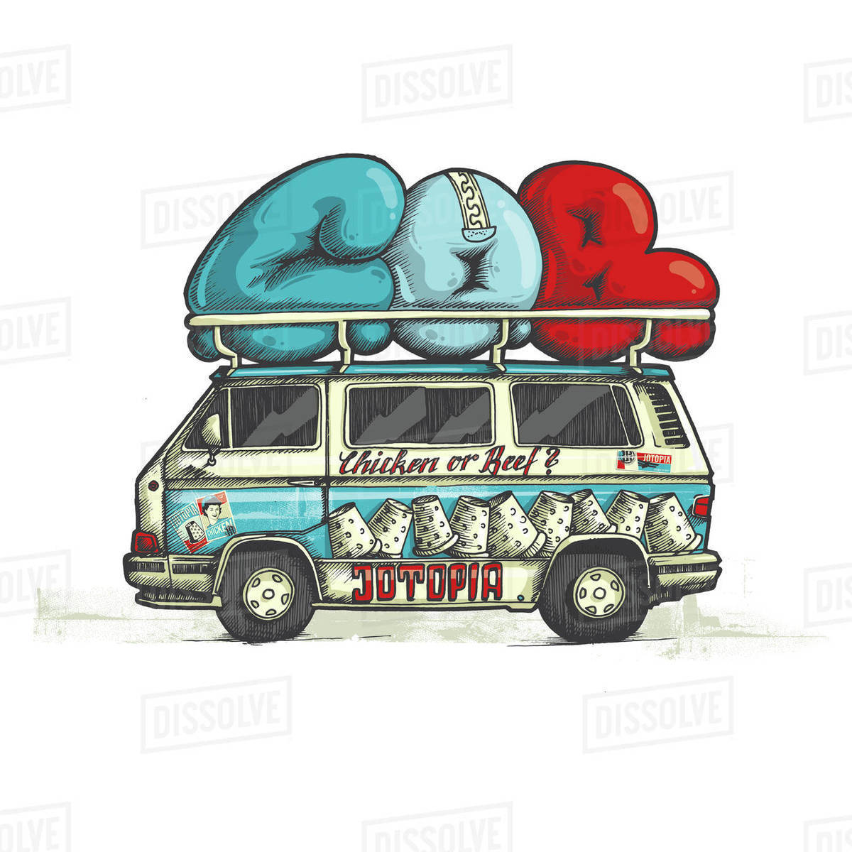Illustration of holiday van isolated on white background Royalty-free stock photo