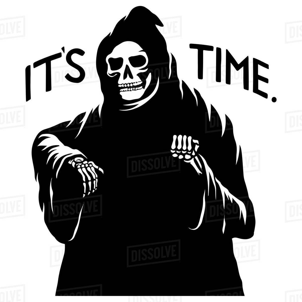Cartoon illustration of death in hood with slogan isolated on white background Royalty-free stock photo
