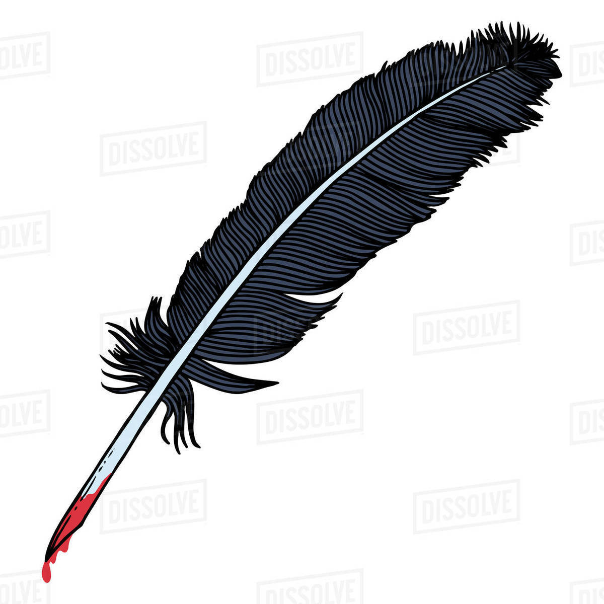 Illustration of feather with blood isolated on white background Royalty-free stock photo