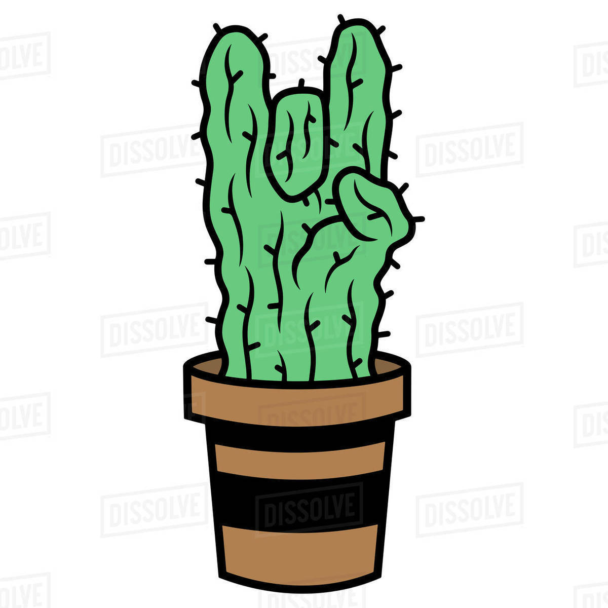 Illustration of cactus in the pot isolated on white background Royalty-free stock photo