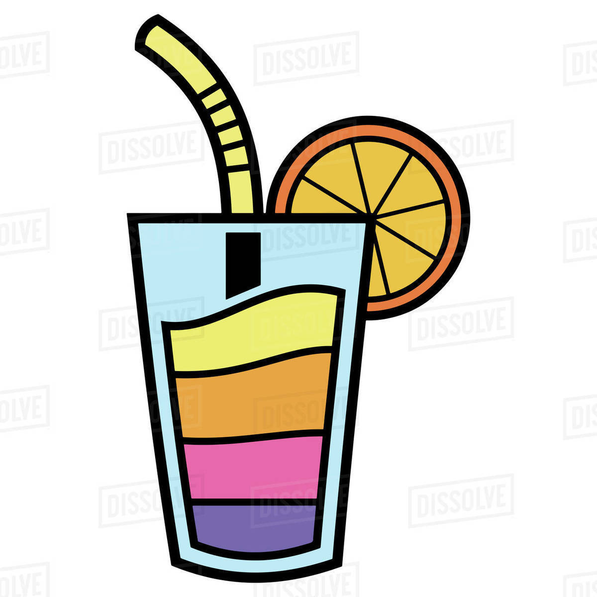 Illustration of cocktail glass with straw and lemon slice isolated on white background Royalty-free stock photo