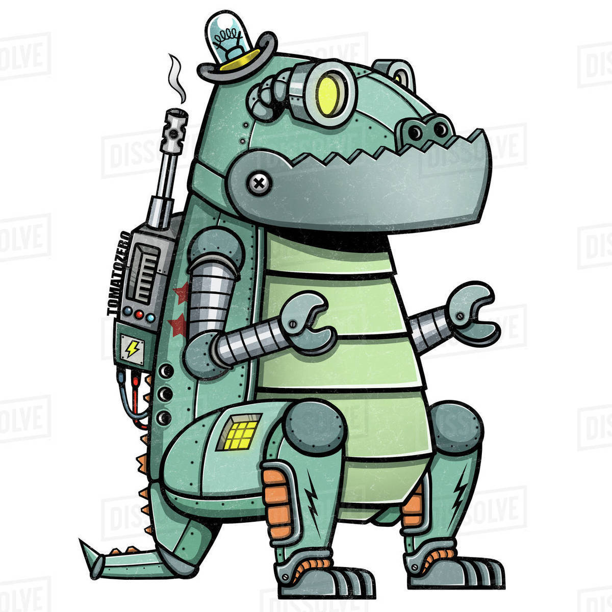 Cartoon illustration of dinosaur robot isolated on white background Royalty-free stock photo