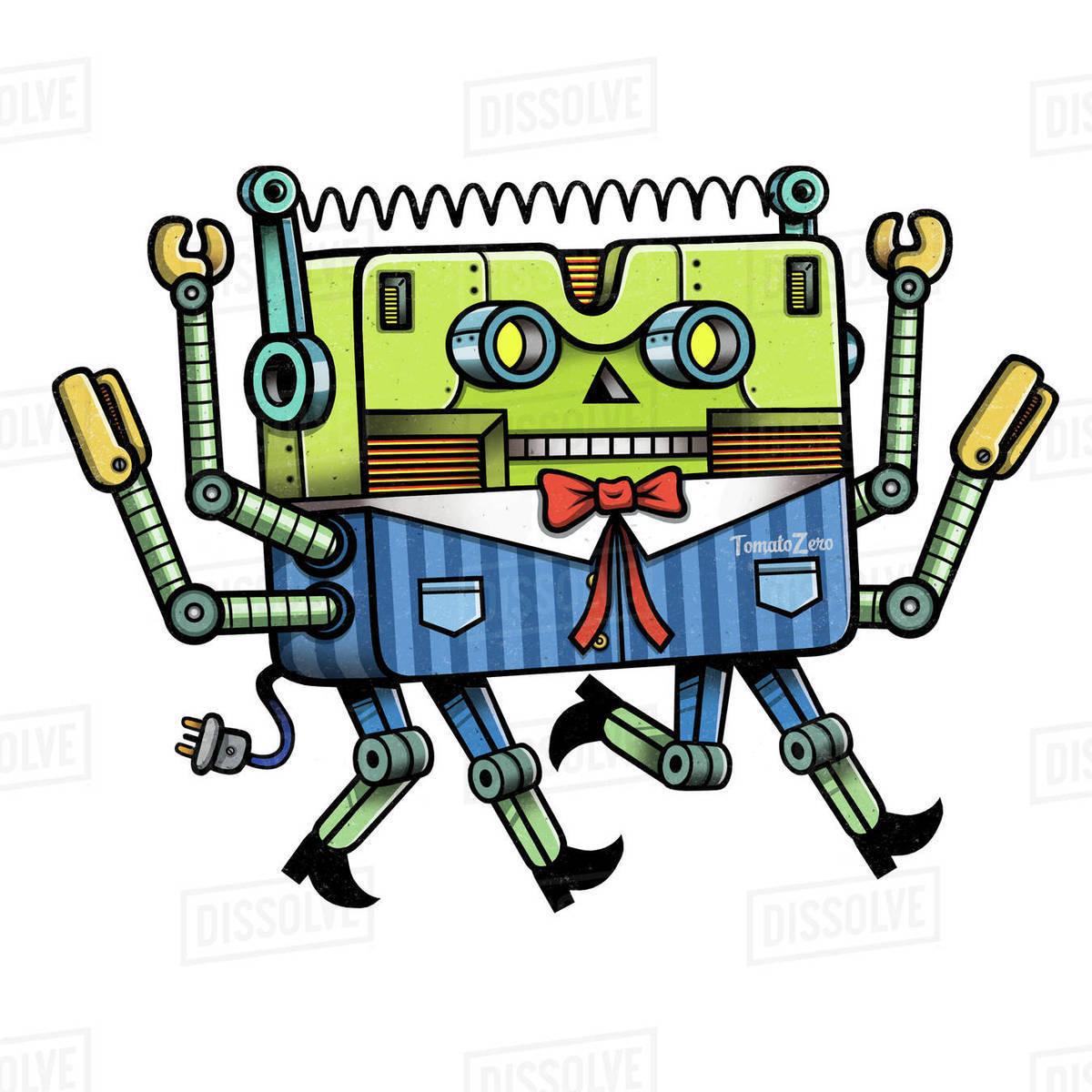 Cartoon illustration of robot worker isolated on white background Royalty-free stock photo