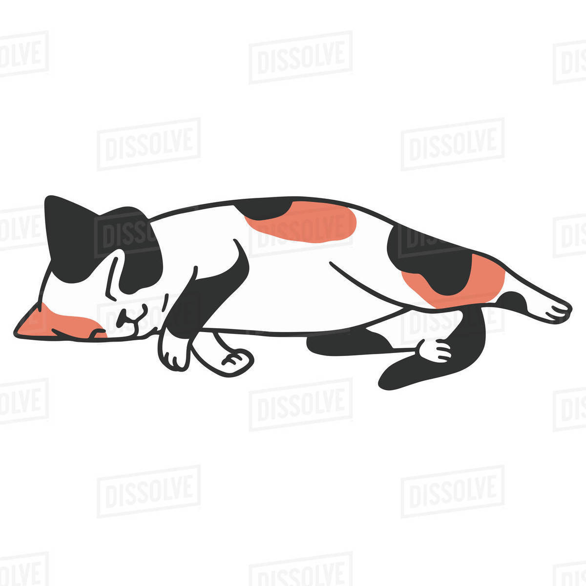 Illustration of a cat sleeping against white background Royalty-free stock photo