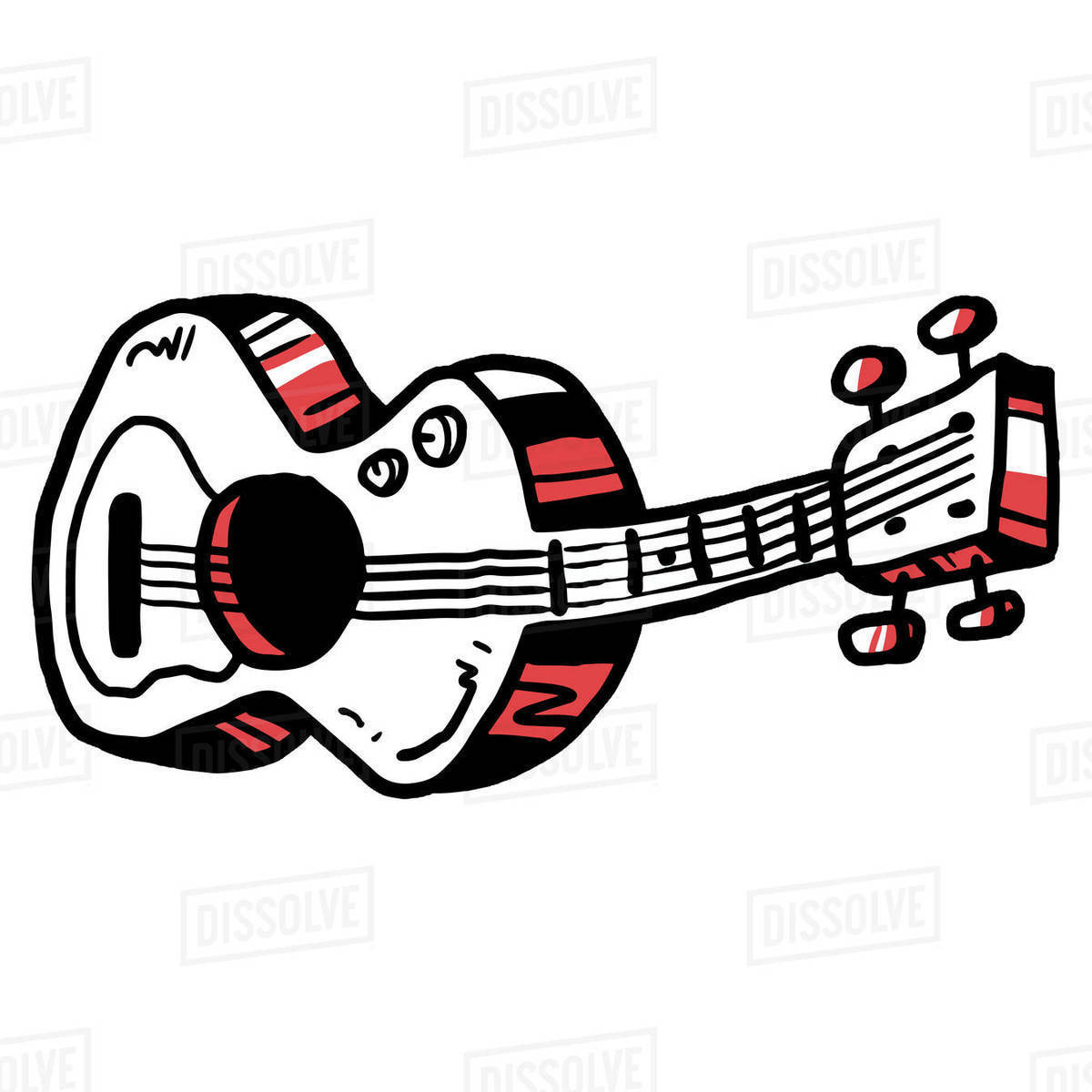 Illustration of acoustic guitar isolated on white background Royalty-free stock photo