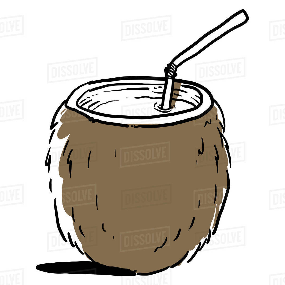 Illustration of fresh coconut water with drinking straw Royalty-free stock photo