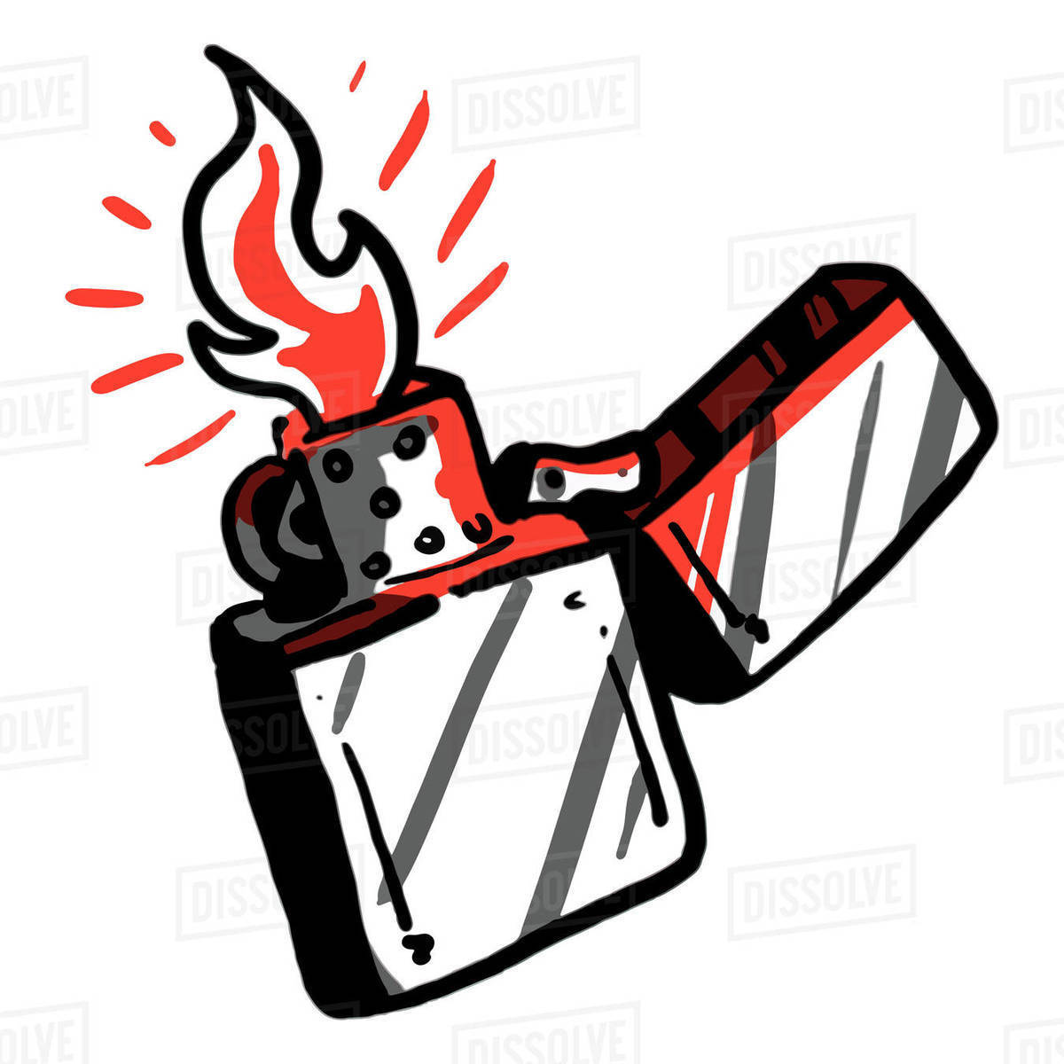 Illustration of zippo lighter with flame isolated on white background Royalty-free stock photo