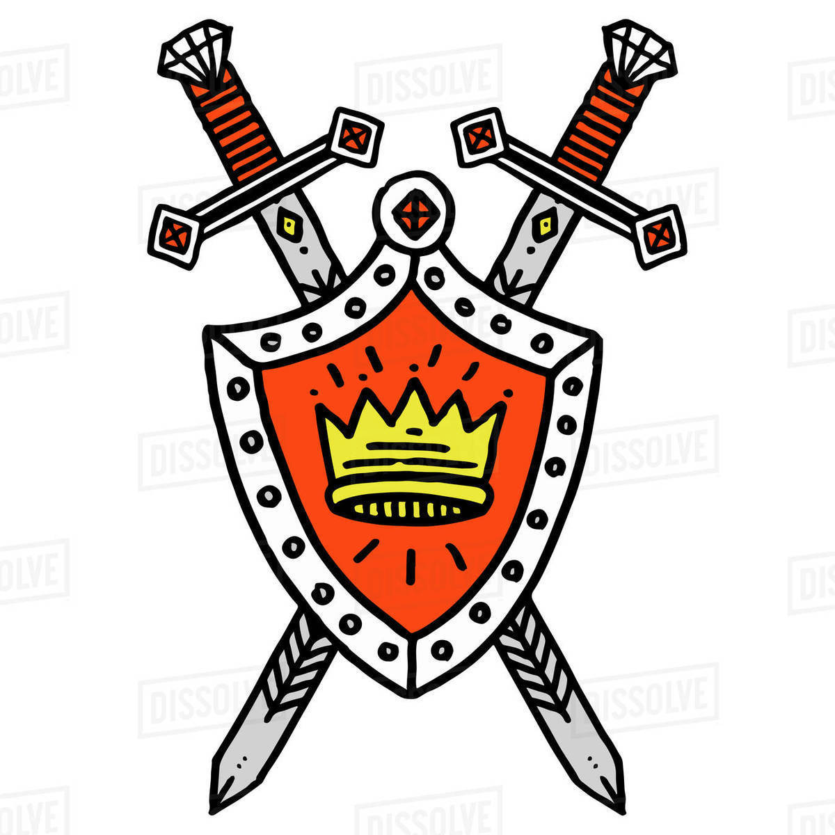 Illustration of crossed swords and shield isolated on white background Royalty-free stock photo