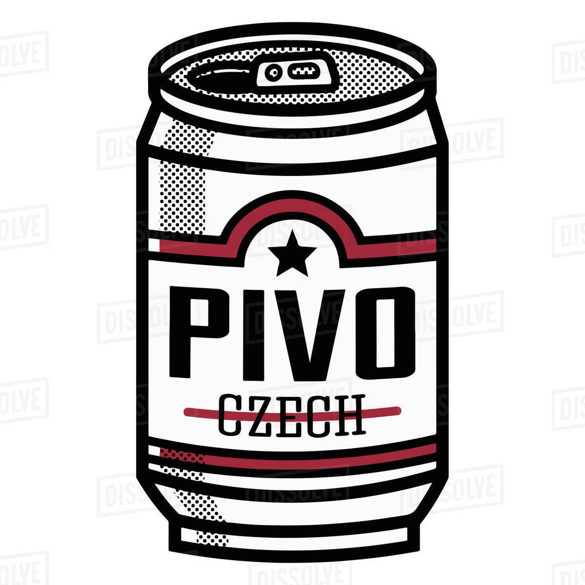 Illustration of Czech beer can isolated on white background Royalty-free stock photo