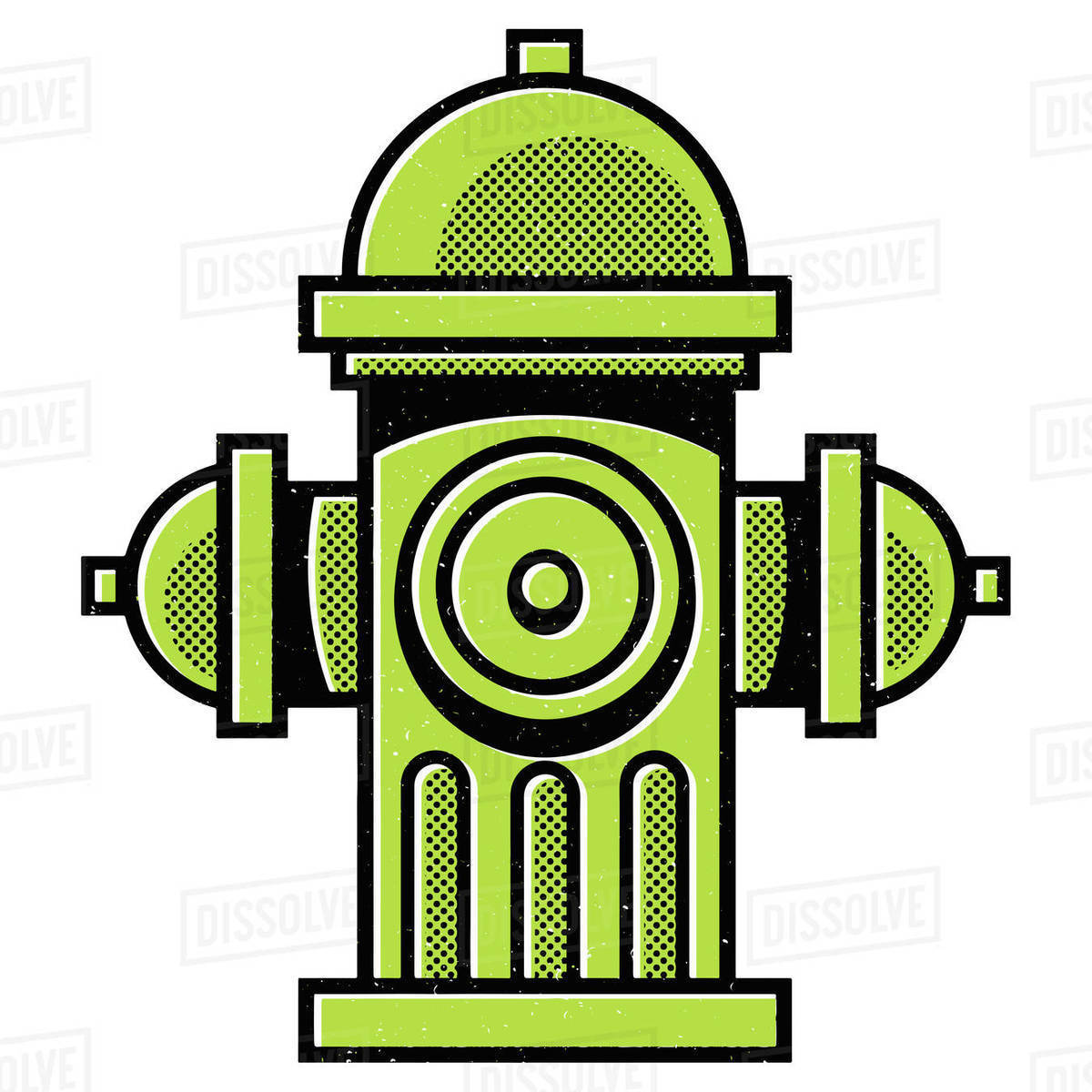 Illustration of green fire hydrant isolated on white background Royalty-free stock photo