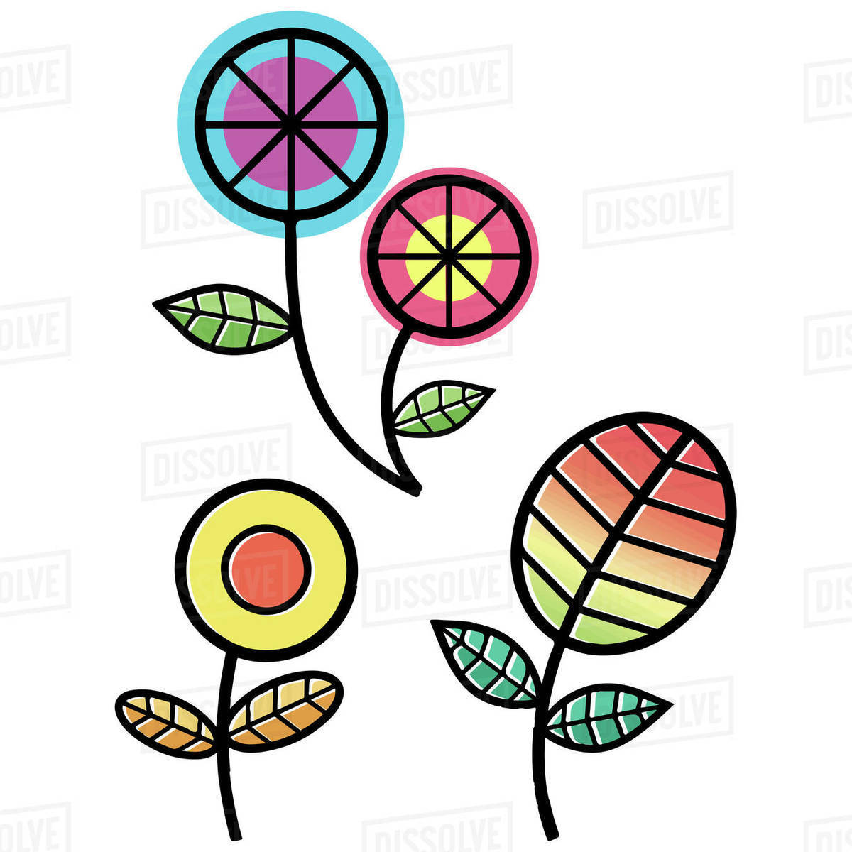Illustration of colorful flowers isolated on white background Royalty-free stock photo