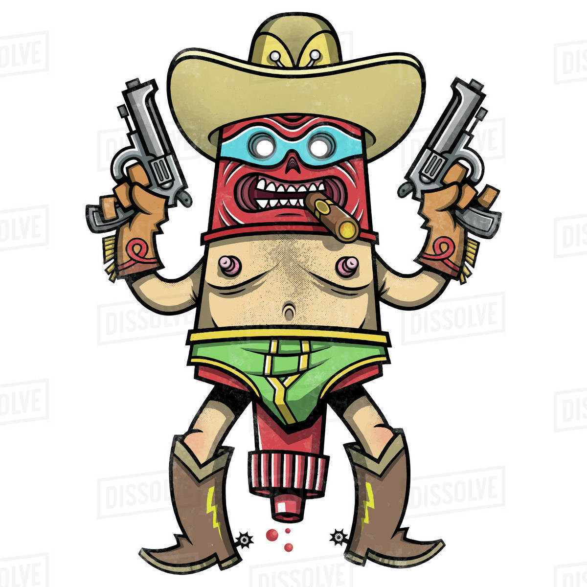 Cartoon illustration of gunslinger with guns isolated on white background Royalty-free stock photo