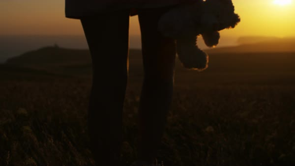 Young female stands watching the sunset whilst holding a teddy bear, in slow motion Royalty-free stock video