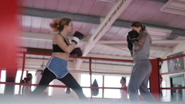 Two female boxers sparring in the ring Royalty-free stock video
