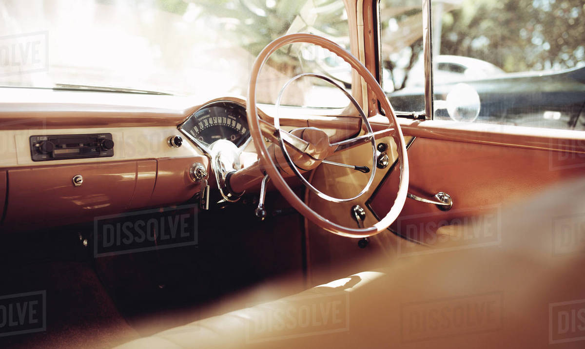 Interior Of A Classic Vintage Car Retro Style Steering Wheel With Brown And Beige Dashboard Stock Photo Dissolve