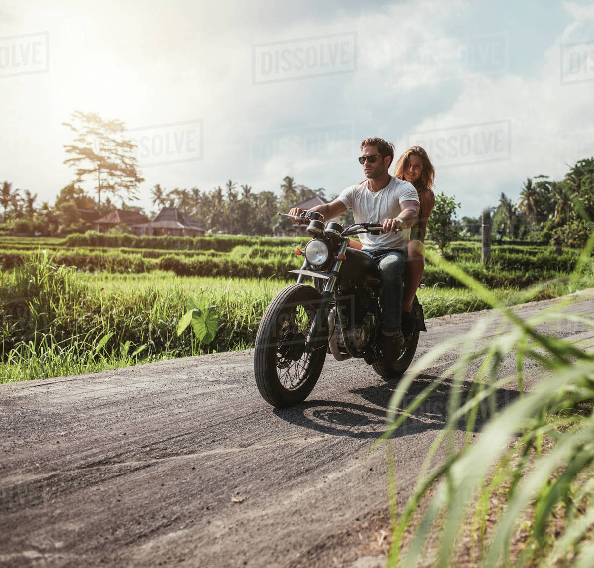 Image result for a couple on a motorcycle, out in the country