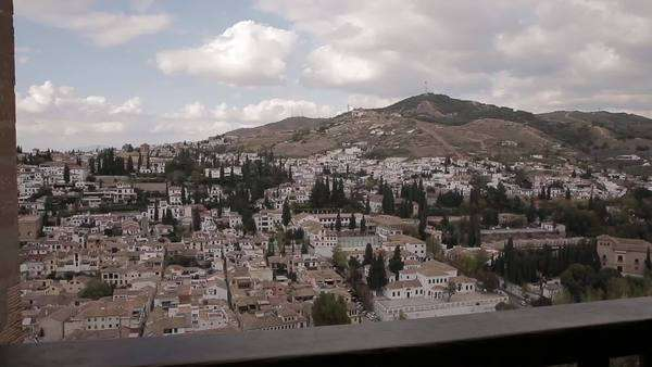 View from a balcony in the Alhambra in Granada, Spain Royalty-free stock video