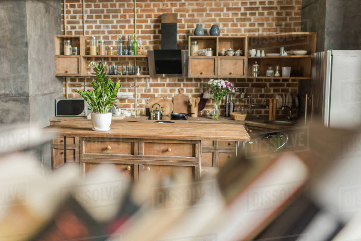 Interior of kitchen with brick wall in loft style, focus D2115_11_743