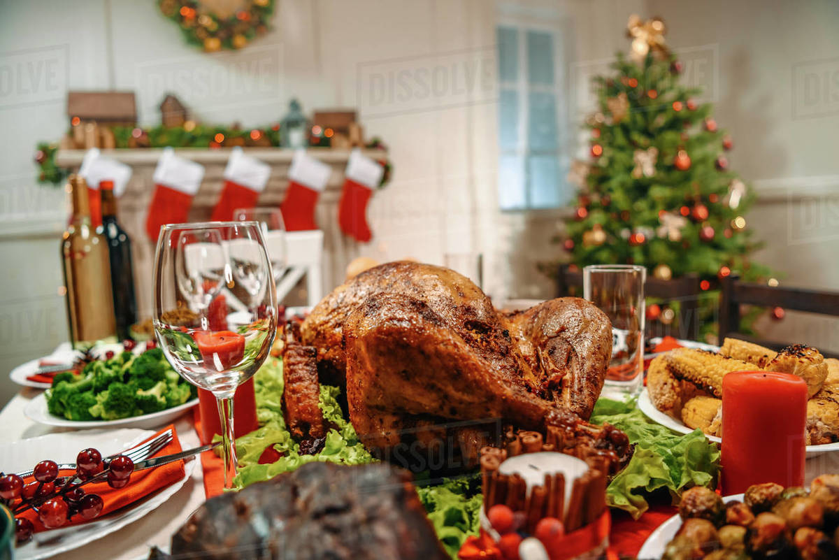 Christmas Meat.Served Table With Delicious Dinner For Christmas Dinner Stock Photo