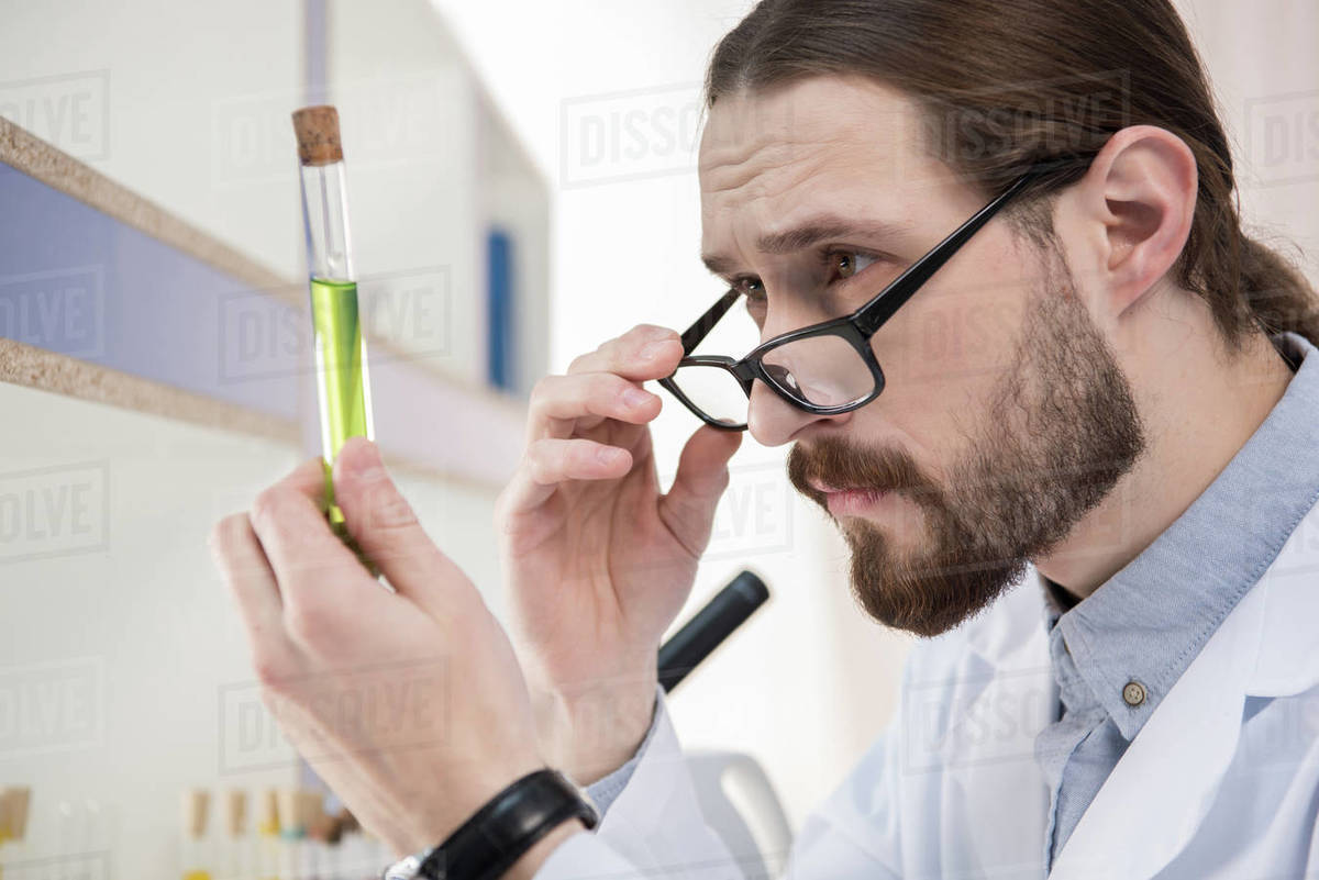Young male scientist looking at chemical sample in test tube - Stock Photo  - Dissolve