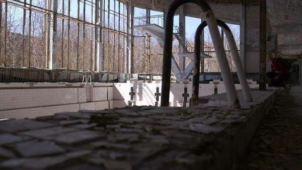 Tracking shot of abandoned swimming pool Rights-managed stock video