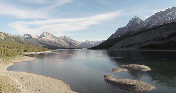 Aerial extreme wide shot of Spray Lakes Reservoir in Alberta, Canada Royalty-free stock video