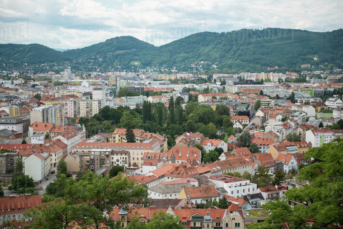 Aerial view of Graz city center Royalty-free stock photo