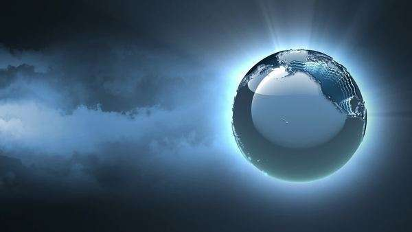 Futuristic 3D silver rotating globe on dark cloudy background, seamless loop Royalty-free stock video