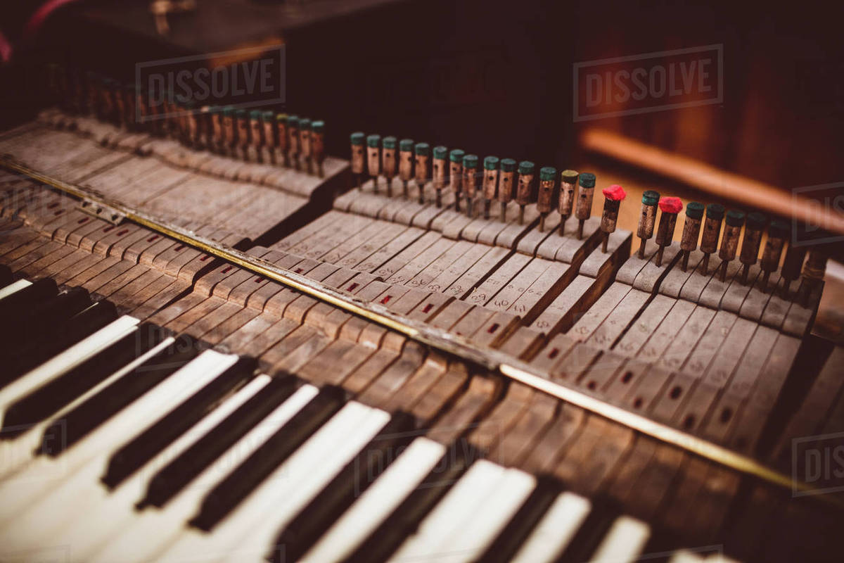 Close-up of a old piano keyboard at workshop stock photo