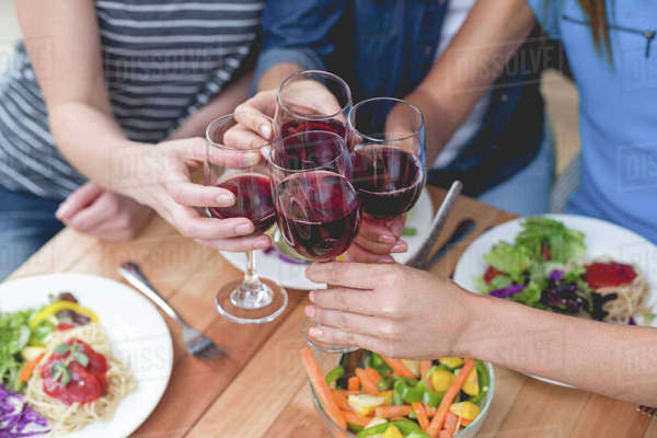 Friends toasting glass of red wine while having meal at home Royalty-free stock photo