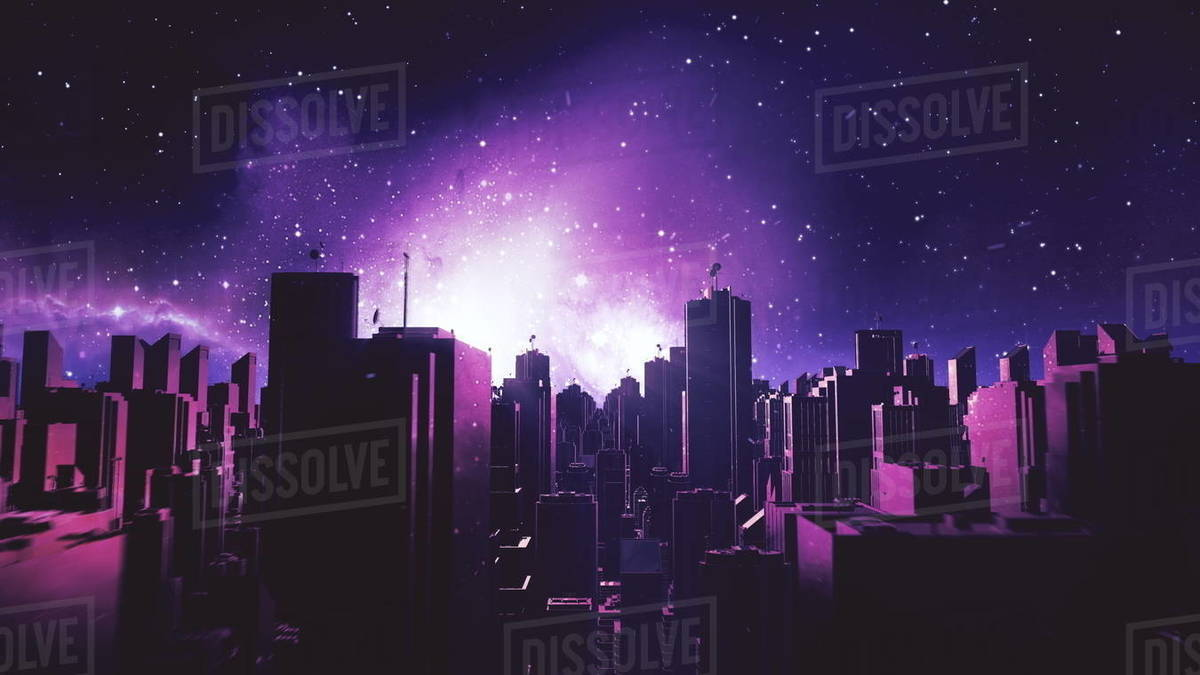 Retro Futuristic City Flythrough Background 80s Sci Fi Synthwave Landscape In Space With Stars Vaporwave Stylized Vj 3d Illustration For Edm Music Video Videogame Intro 4k Motion Design Retrowave Stock Photo