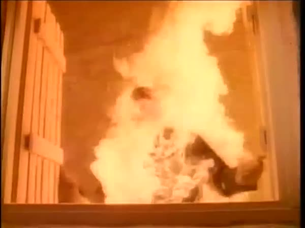 Man on fire walking through hall and falling down, 1980s Royalty-free stock video