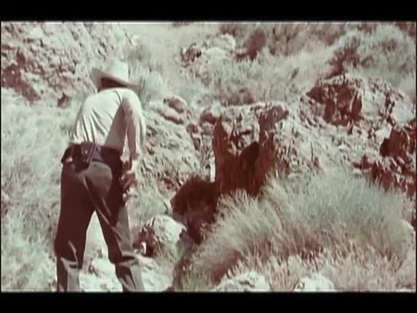 Rear view of sheriff removing gun from holster while moving up on mountain Royalty-free stock video