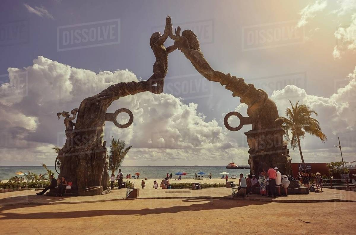 Fundadores Park in Playa del Carmen: Park by the sea with sculptures, a playground for children and traditional Mayan dance performances. Royalty-free stock photo
