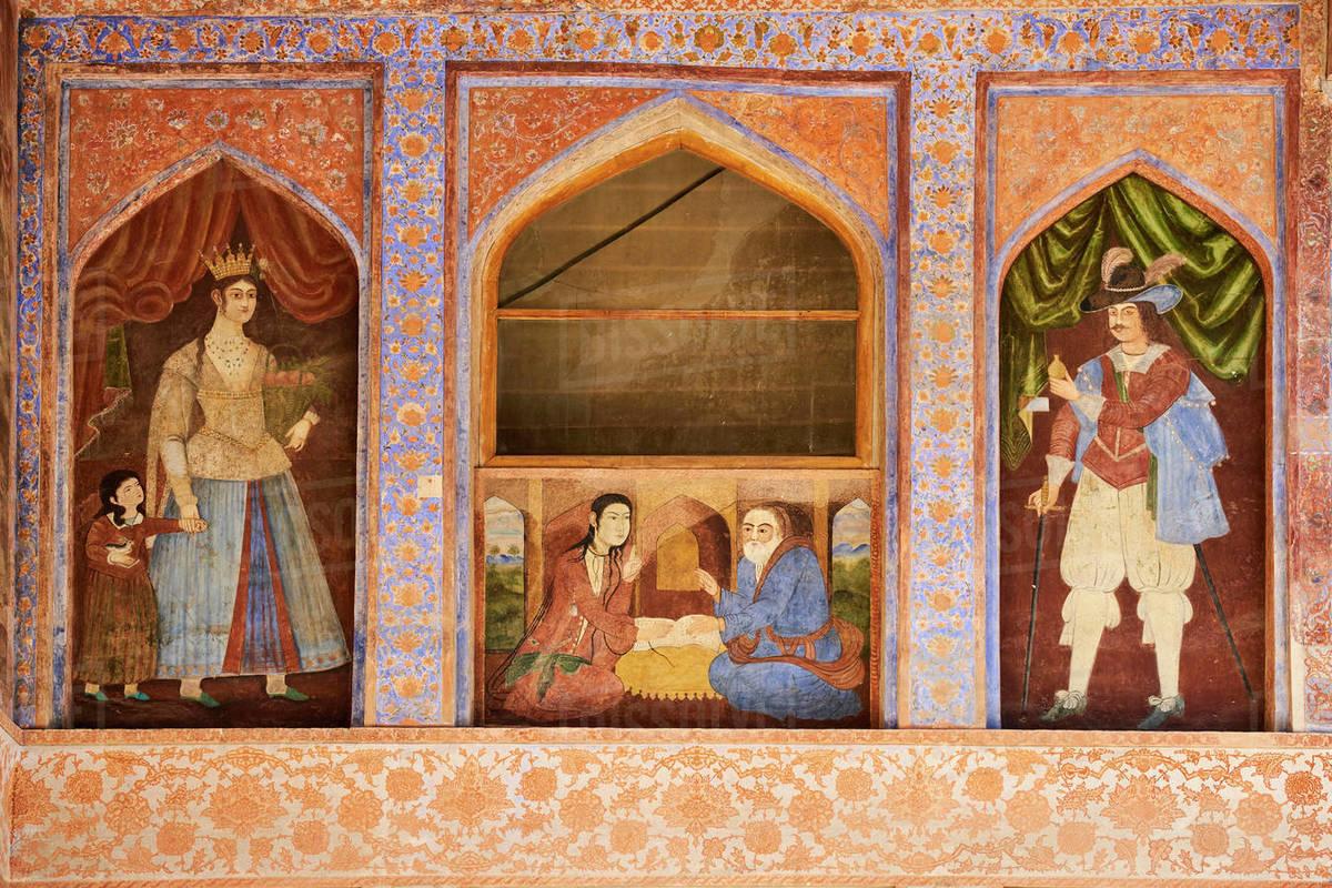 Safavid era painting, Chehel Sotun Palace, Isfahan, Iran, Middle East stock  photo