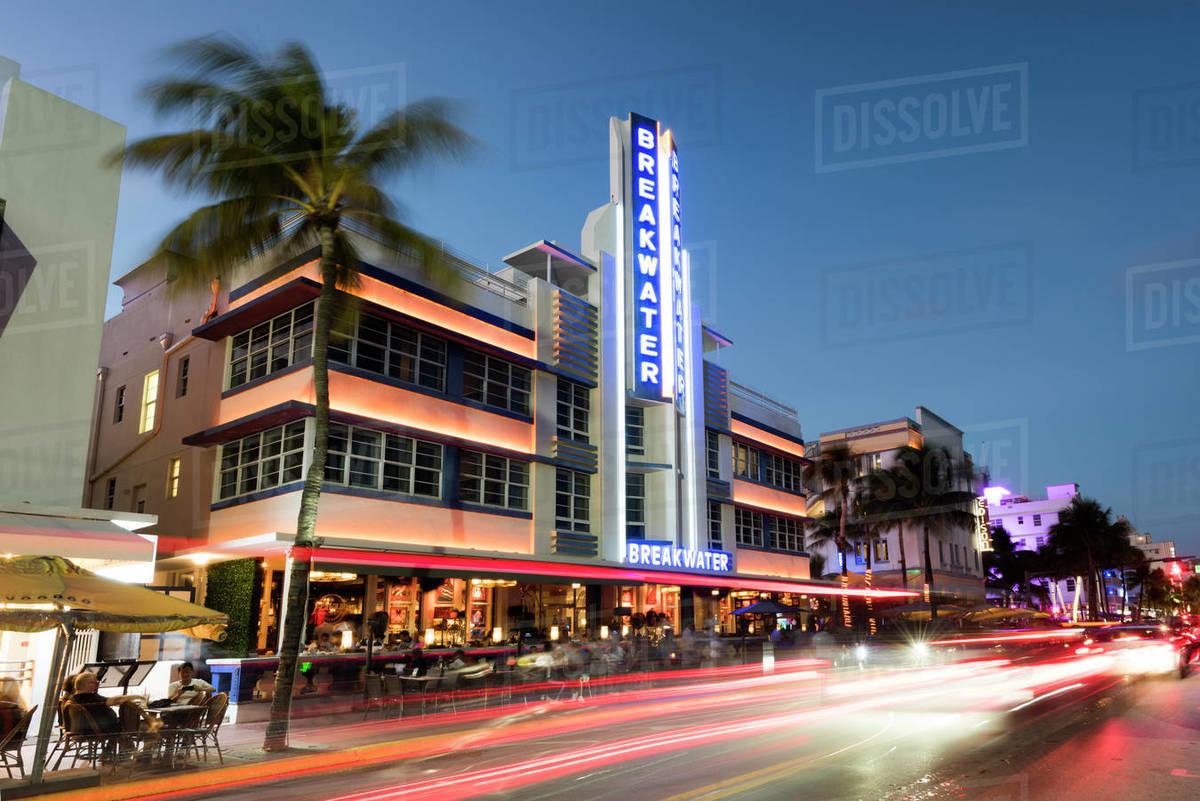 Art Deco Architecture At Night On Ocean Drive South Beach Miami Beach Florida United States Of America North America Stock Photo