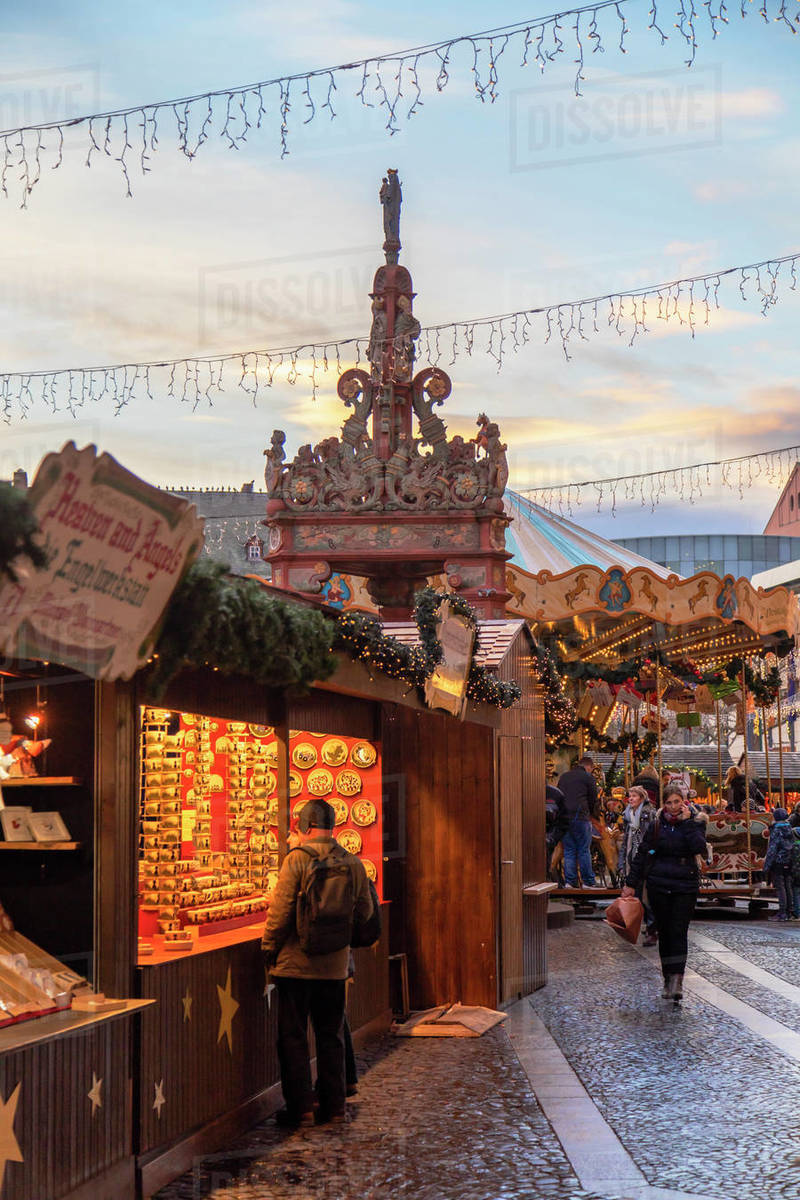 Christmas Market, Mainz, Rhineland-Palatinate, Germany, Europe Royalty-free stock photo