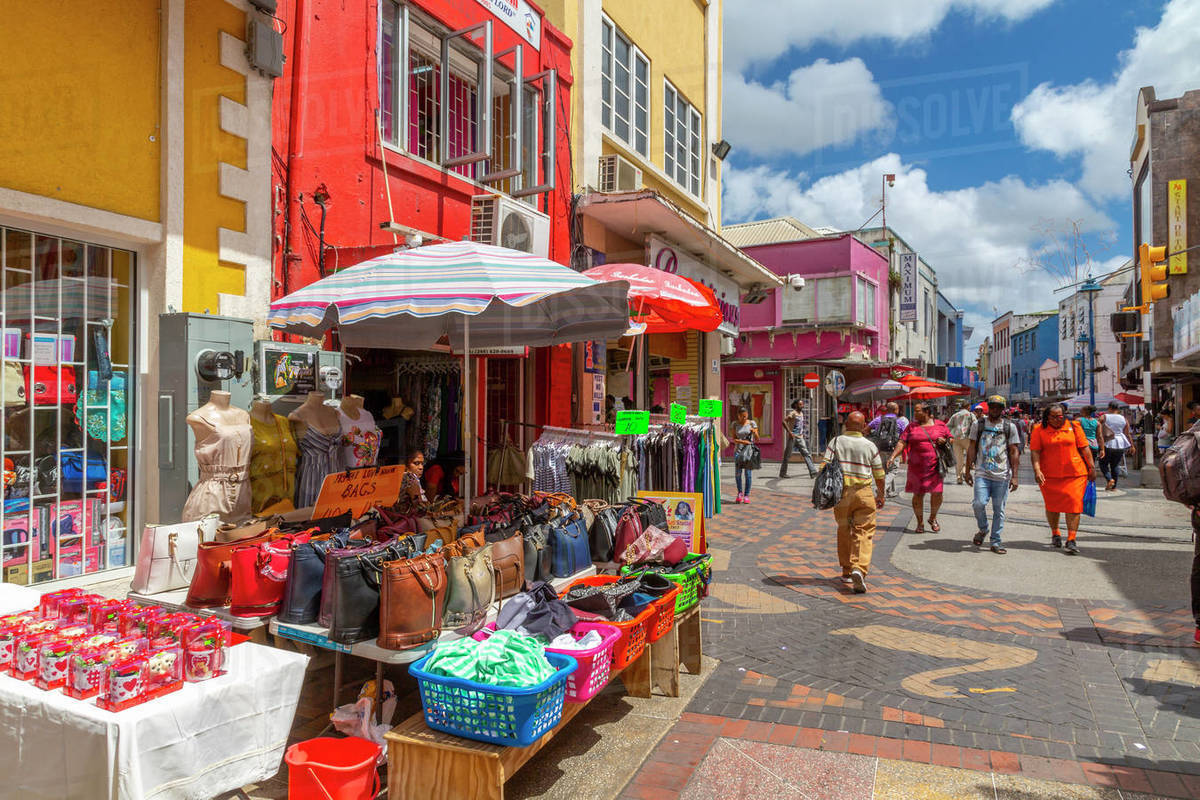 Colourful stalls and shops on Swan Street, Bridgetown, Barbados, West Indies, Caribbean, Central America Royalty-free stock photo