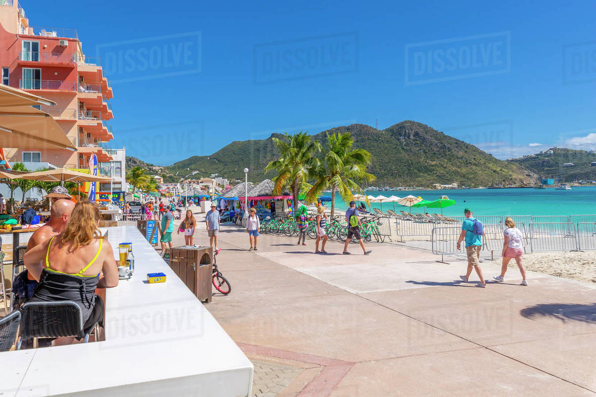 View of beach bar overlooking Caribbean Sea, Philipsburg, St. Maarten, Leeward Islands, West Indies, Caribbean, Central America Royalty-free stock photo