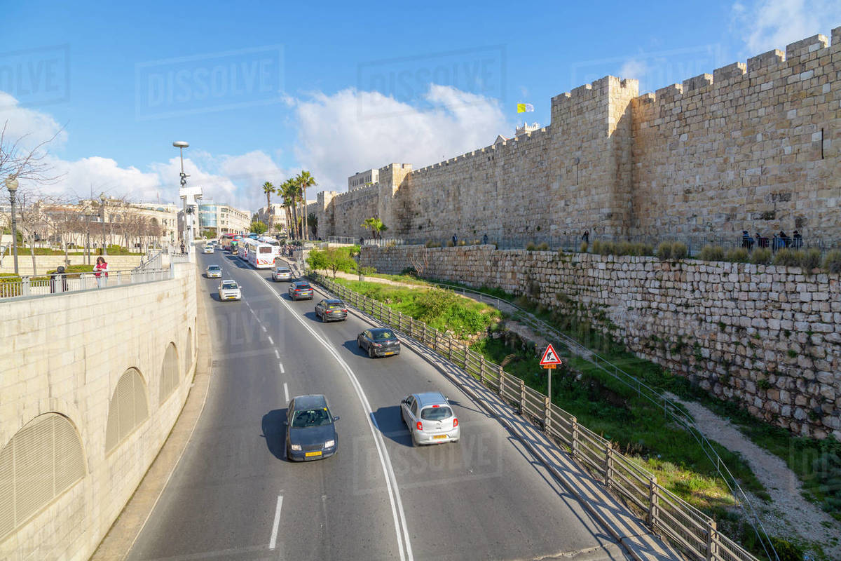 View of Old City wall from Jaffa Gate, Old City, UNESCO World Heritage Site, Jerusalem, Israel, Middle East Royalty-free stock photo