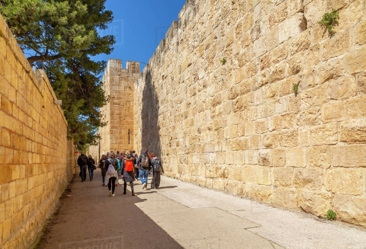 Tour group at Old City Wall, Old City, Old City, UNESCO World Heritage Site, Jerusalem, Israel, Middle East Royalty-free stock photo