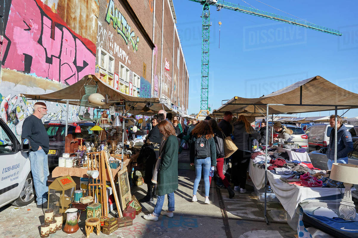 IJ Hallen monthly market at the NDSM in Amsterdam Noord, the biggest flea market in Europe, Amsterdam, North Holland, The Netherlands, Europe Royalty-free stock photo