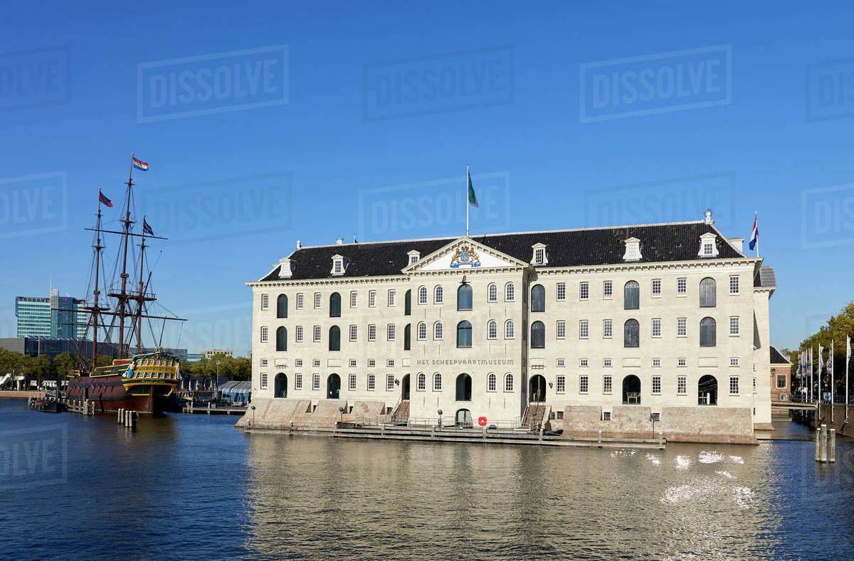 Het Scheepvaartmuseum, the National Maritime museum and The Amsterdam sailing ship, Amsterdam, North Holland, The Netherlands, Europe Royalty-free stock photo